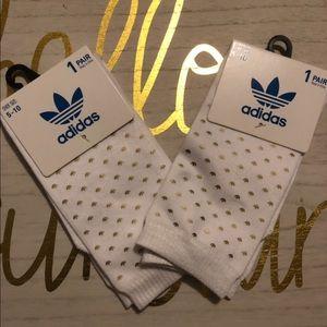 Adidas white gold three foil socks